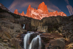 Picturesque Waterfall at Mount Fitz Roy. Patagonia. Stock Photography