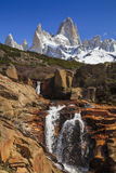 Picturesque Waterfall at Mount Fitz Roy. Patagonia. Royalty Free Stock Photos
