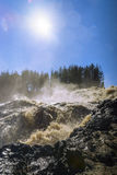 Picturesque waterfall in sunny day, vertical Royalty Free Stock Photography