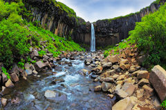 Picturesque waterfall Svartifoss Royalty Free Stock Photos