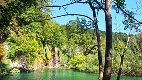Picturesque waterfalls scenery in Plitvice Lakes National Park royalty free stock image