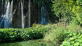 Picturesque waterfalls scenery in Plitvice Lakes National Park. Croatia stock footage