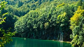 Picturesque waterfalls scenery in Plitvice Lakes National Park. Croatia stock video footage