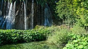 Picturesque waterfalls scenery in Plitvice Lakes National Park stock video