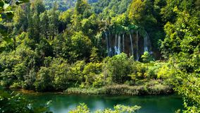 Picturesque waterfalls scenery in Plitvice Lakes National Park stock video footage