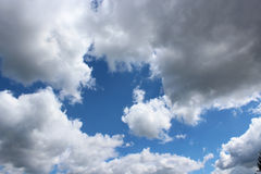 Picturesque white clouds on blue sky background Royalty Free Stock Photography