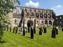 Picturesque Wiltshire, Malmesbury Abbey. Historic Malmesbury Abbey in spring sunshine, Wiltshire, UK Royalty Free Stock Photos