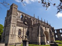 Picturesque Wiltshire, Malmesbury Abbey. Historic Malmesbury Abbey in spring sunshine, Wiltshire, UK Stock Images