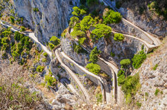 Picturesque winding path to Marina Piccola on Capri island, Italy. Stock Image