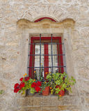 Picturesque window and flowerpots Stock Photos