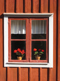Picturesque window with flowers. Linkoping. Sweden Stock Photo