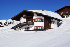 Picturesque winter landscape with cottage. Lech Stock Photo