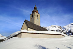 Picturesque winter landscape with Kirche. Lech Stock Photo