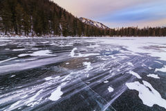 Picturesque winter landscape with mountains and lake. Royalty Free Stock Photography