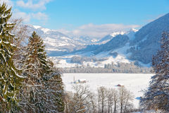 Picturesque winter landscape near the castle of Gruyeres Royalty Free Stock Images