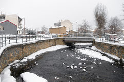 Picturesque winter scene by the river of Florina, a small town in northern Greece Royalty Free Stock Image