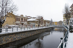 Picturesque winter scene by the river of Florina, a small town in northern Greece Royalty Free Stock Photo
