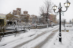 Picturesque winter scene by the river of Florina, a small town in northern Greece Royalty Free Stock Photos