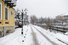 Picturesque winter scene by the river of Florina, a small town in northern Greece Stock Photography