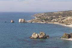 Picturesque seascape on the island of Cyprus. Picturesque winter seascape on the island of Cyprus Stock Image