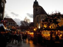 Picturesque wooden houses covered with Christmas lights in the Christmas markets of Stuttgart stock photo