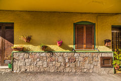 Picturesque yellow facade in Castelsardo Royalty Free Stock Image