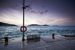 The pictursque pier of Buyukada, Istanbul at sunset Royalty Free Stock Photography