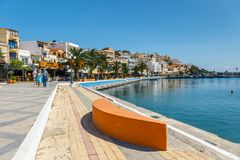 The pictursque port of Sitia, Crete, Greece. SITIA, CRETE, GREECE - JUNE 11, 2017: The pictursque port of Sitia, Crete, Greece. Sitia is a traditional town at Stock Photos
