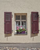 Picuresque window and flowers Stock Photos