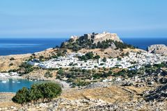 Lindos Rhodes and the Acropolis stock photography