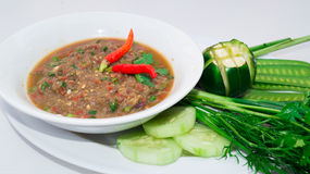 Picy鱼剁碎南部的老挝人食物菜单的混合 免版税图库摄影