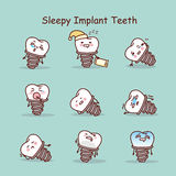 Śpiący kreskówka zębu wszczepu set Fotografia Royalty Free