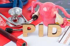 PID afkorting of acroniem van bekken ontstekingsziekte, besmetting of ontsteking van organen van vrouwelijk reproductief systeem  stock foto's