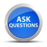 Pida a preguntas el botón redondo azul ilustración del vector