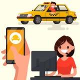 Pida un taxi con el app en su teléfono Ilustración del vector Stock de ilustración