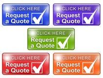 Pida una marca de verificación de los botones w del web de la cita Foto de archivo libre de regalías