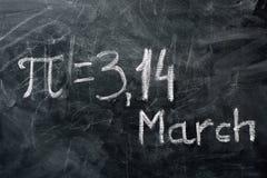 PIdagbegrepp Värdet av PI och datumet royaltyfria foton