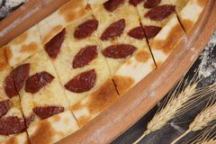 Pide with meat, national Turkish dish, Turkish pizza Royalty Free Stock Images