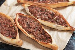 Pide, turkish meat and pastry street food Stock Image