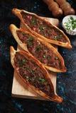 Pide, Turks straatvoedsel Royalty-vrije Stock Afbeeldingen