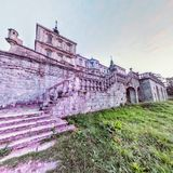 Pidhirtsi Castle. Back Facade Fisheye View Royalty Free Stock Photos
