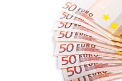 Pięćdziesiąt euro rachunków Odizolowywających Obraz Royalty Free