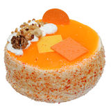 Pie. Orange pie with nuts on a white background Royalty Free Stock Images