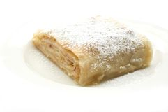 Pie. Tasty apple pie on white plate close up Stock Photos