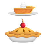 Pie. Whole pie with cherry and pie slice Royalty Free Stock Images