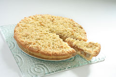 Pie. Apple pie on glass with white background stock photo