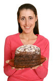 Pie. The girl with a pie of own preparation Stock Images