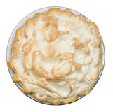 Pie. Top view of homemade lemon meringue pie on isolated white background Stock Photo