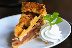 Pie apple cake on wooden table. Homemade Organic Apple Pie Dessert Ready to Eat Stock Images