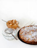 Pie and apple jam. On the table Royalty Free Stock Photos